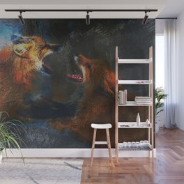 Fighting Foxes Wall Mural