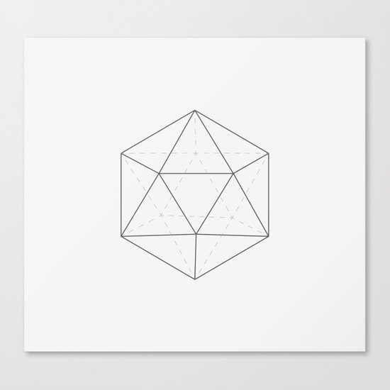 Black & white Icosahedron Canvas Print
