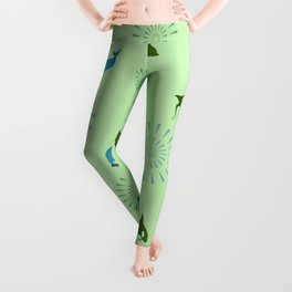 Green Orca and Dolphin Leggings