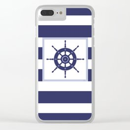 AFE Nautical Navy Helm Wheel Clear iPhone Case
