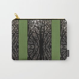 Gothic tree striped pattern green Carry-All Pouch
