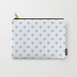 Brandeis Blue on White Snowflakes Carry-All Pouch