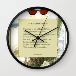 A Mallard Duck Poster Wall Clock