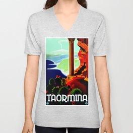 Vintage Taormina Italy Travel Unisex V-Neck