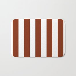 Smokey Topaz brown - solid color - white vertical lines pattern Bath Mat