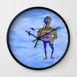 Orange guy diving in watercolor Wall Clock