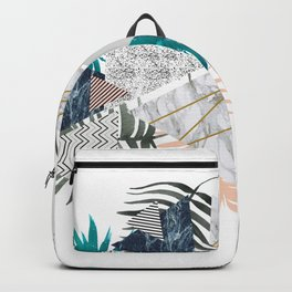 Abstract of geometric patterns with plants and marble II Backpack