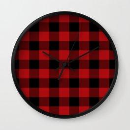Red & Black Buffalo Plaid Wall Clock