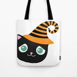 Black Cat with Sad Eyes and Whimsical Hat Tote Bag