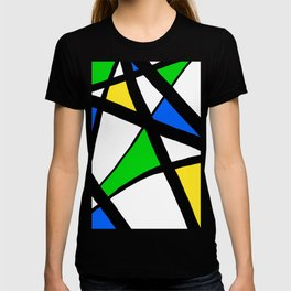 China Blue, Apple Green and Sunshine Yellow Abstract T-shirt