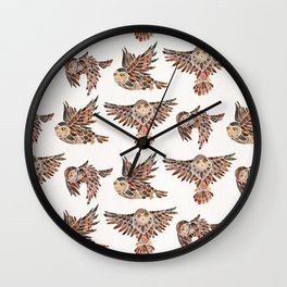 Owls in Flight – Brown Palette Wall Clock