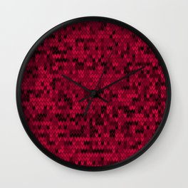 Red knitted textiles Wall Clock