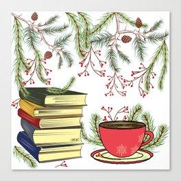 Winter Books and Tea Canvas Print
