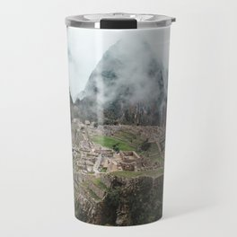 Ancient Inca ruins of Machu Picchu and surrounding Andes mountains in the early morning, Peru Travel Mug