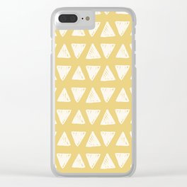 Mustard yellow white hand painted geometrical triangles Clear iPhone Case