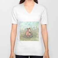 pony V-neck T-shirts featuring Resting Pony by Bluedogrose