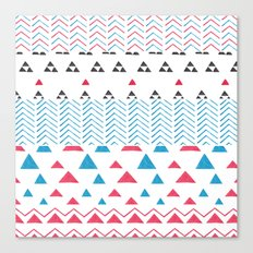Watercolor hand painted pink blue black tribal geometrical Canvas Print