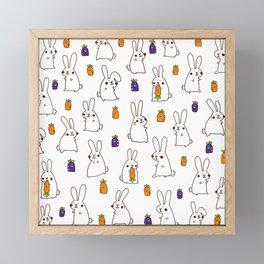Rabbit on field Framed Mini Art Print