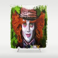 mad hatter Shower Curtains featuring Mad Hatter by grapeloverarts