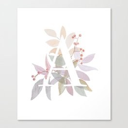 Fall Floral Monogram A - Rustic Alphabet Typography Canvas Print