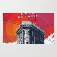 detroit Area & Throw Rugs featuring Save Detroit by The Mighty Mitten - Great Lakes Art
