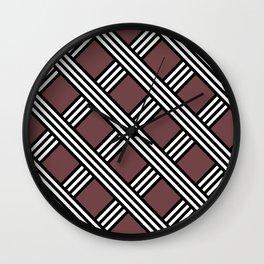 Pantone Red Pear, Black & White Diagonal Stripes Lattice Pattern Wall Clock