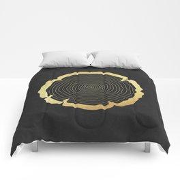 Metallic Gold Tree Ring on Black Comforters