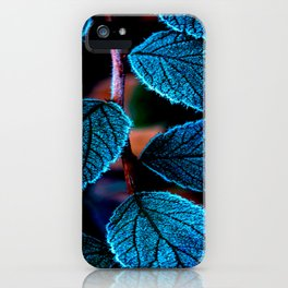 Peacock Blue Leaves Nature Background #decor #society6 #buyart iPhone Case