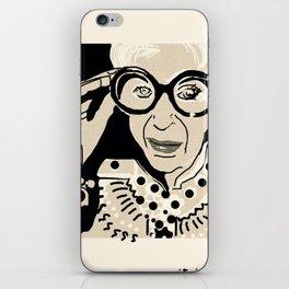 Iris Apfel cartoon portrait iPhone Skin
