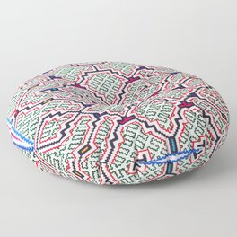 Song for Good Work - Traditional Shipibo Art - Indigenous Ayahuasca Patterns Floor Pillow