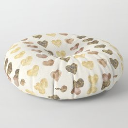 Gold and Chocolate Brown Hearts Floor Pillow