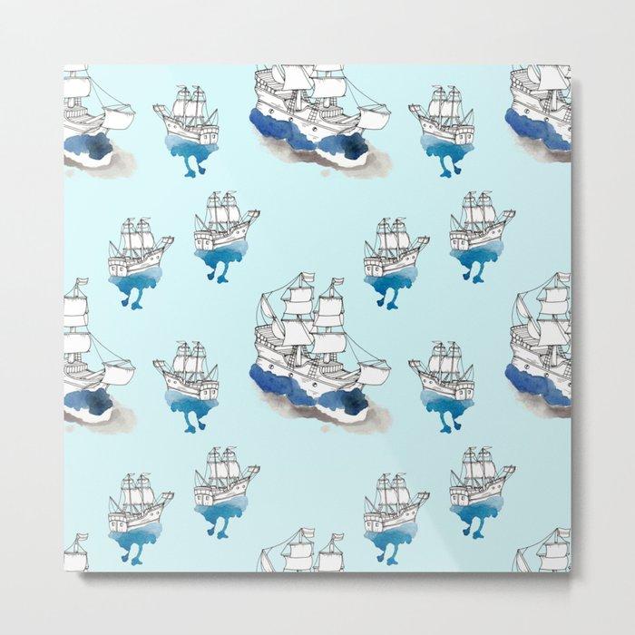 Ships Pattern Metal Print