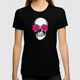 Skull and Roses | Skull and Flowers | Vintage Skull | Yellow and Pink | T-shirt