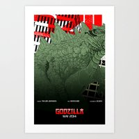 movie posters Art Prints featuring Godzilla Triptych B (02 of 03 Collectible Movie Posters) by Jeremy Gonzalez