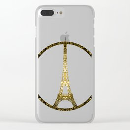 Eiffel Tower gold sparkles peace symbol Clear iPhone Case