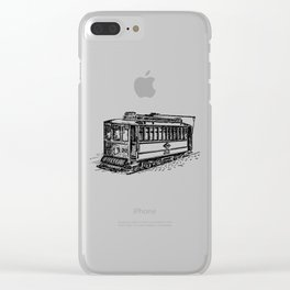City Tram Detailed Illustration Clear iPhone Case