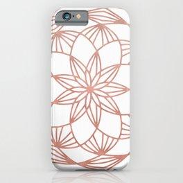 Rose Gold Mandala Flower on White II iPhone Case