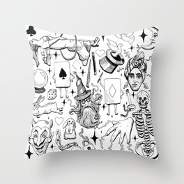 Antique Magic Starter Pack Black and White Throw Pillow