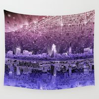 cleveland Wall Tapestries featuring cleveland city skyline by Bekim ART