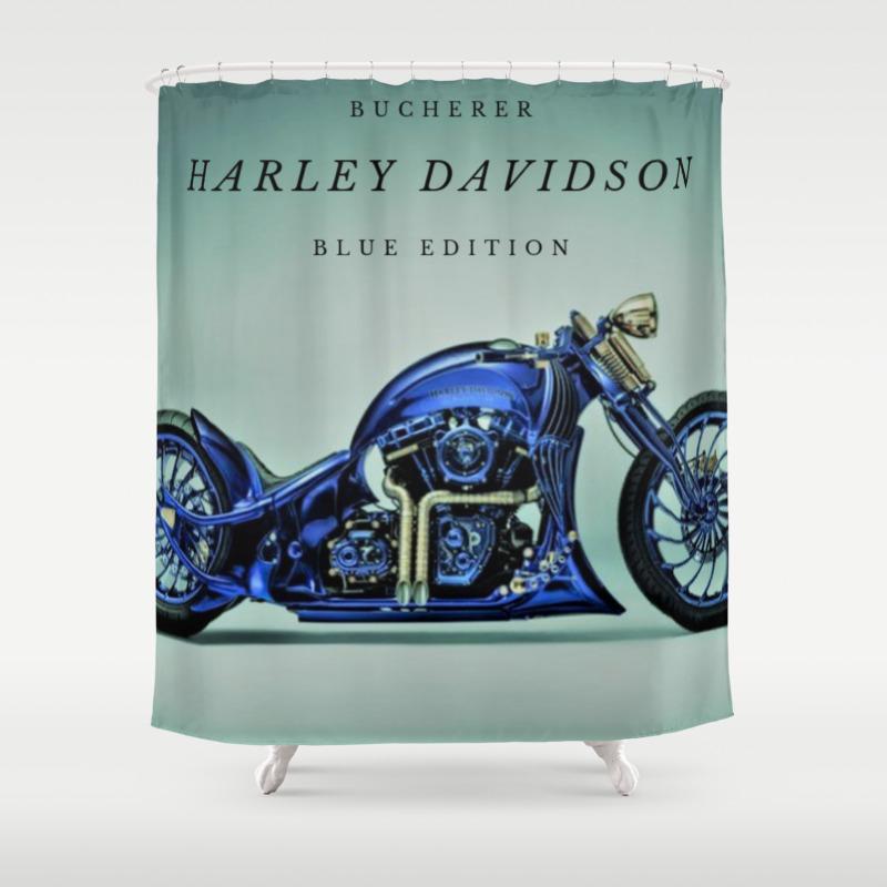 Bucherer Blue Edition Motorcycle Art Shower Curtain
