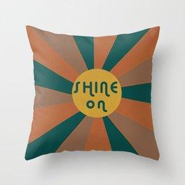Shine on retro sunburst Throw Pillow