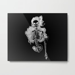 Smoking Skeleton Inverted Metal Print
