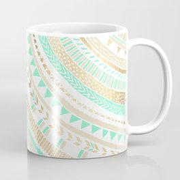 Mint + Gold Tribal Coffee Mug