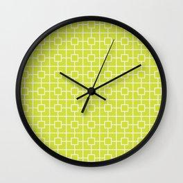 Pear Green Square Chain Pattern Wall Clock
