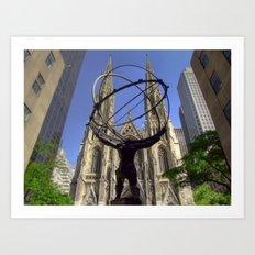 Atlas Statue at the Rockefeller Plaza, Fifth Avenue, New York Art Print