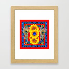 RED-BLUE PEACOCK JEWELED SUNFLOWERS DECO ABSTRACT Framed Art Print