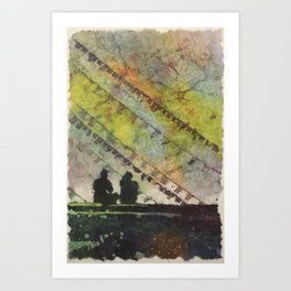 People sitting in front of prayer flags at the Buddhist Stupa of Boudhanath in the Kathmandu Valley Art Print
