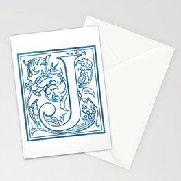Letter J Elegant Antique Floral Letterpress Monogram Stationery Cards