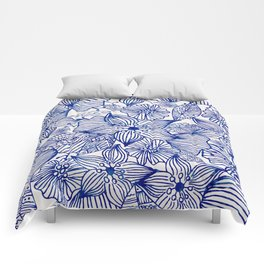 Hand painted royal blue white watercolor floral illustration Comforters