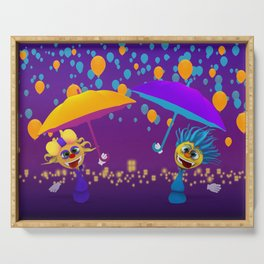 Cartoony characters with umbrellas and balloons Serving Tray